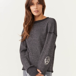 MONROW Monrow Embroidered Skull Sweatshirt Tops