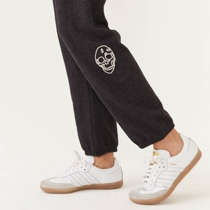 MONROW Monrow Embroidered Skull Sweats Pants