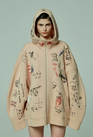 TATTOOSWEATERS Oversized Printed Hoodie Outerwear