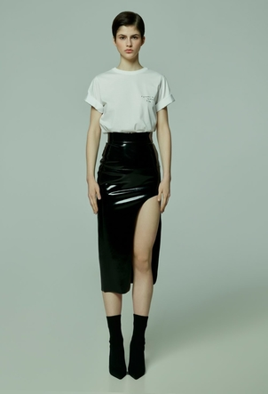 TATTOOSWEATERS Lacquered High Waisted Skirt Skirts