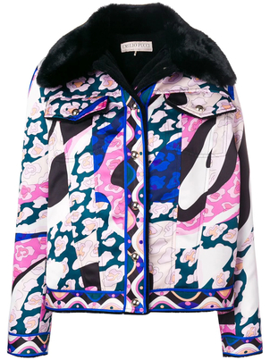 Emilio Pucci Faux Fur Printed Jacket Outerwear