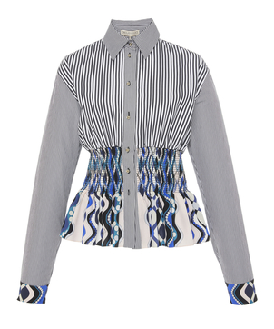 Emilio Pucci Smocked Silk Cotton Shirt Tops