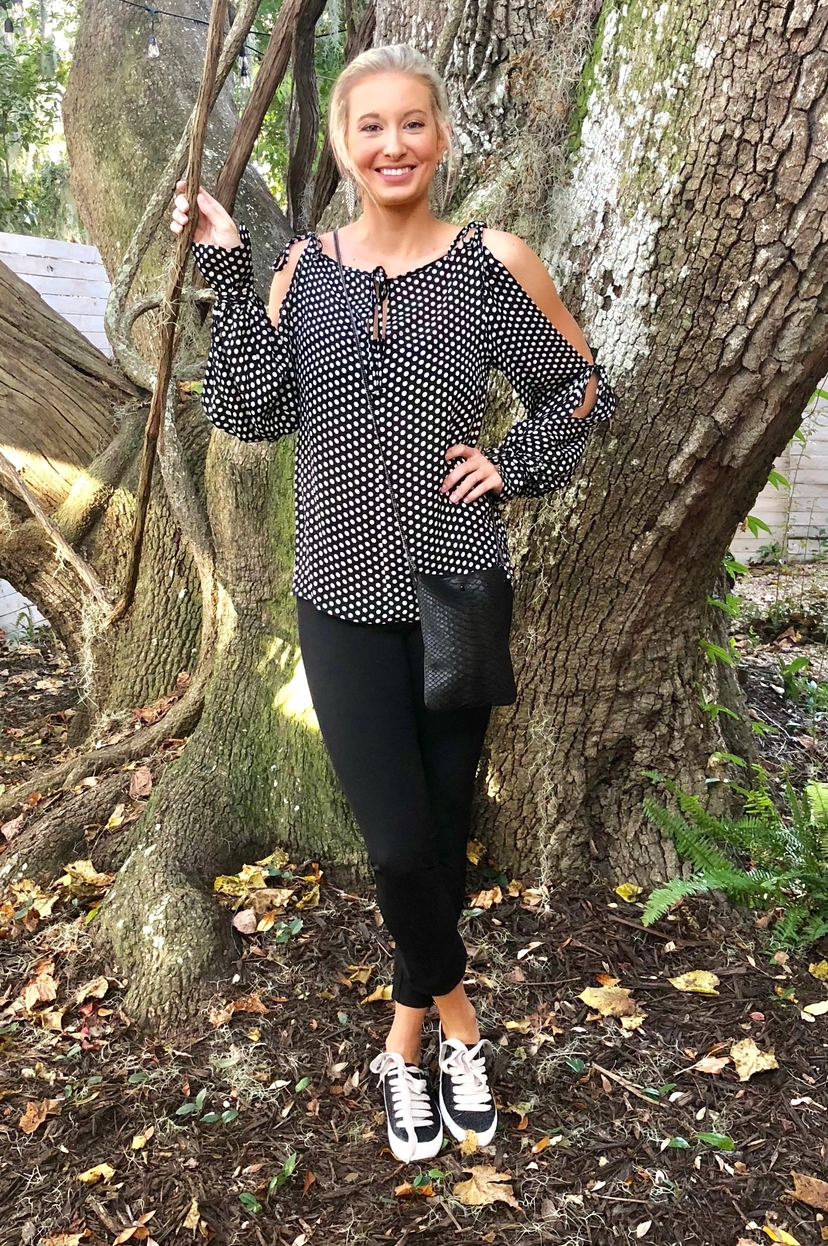 Milly Polka Dot Tie Sleeve Blouse Tops