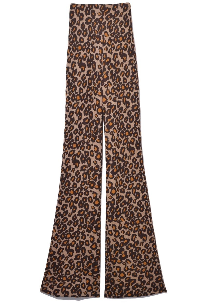 Rosetta Getty Fitted Straight Flare Trousers in Leopard Pants