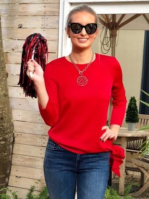 Milly Milly Side Tie Top Red Tops