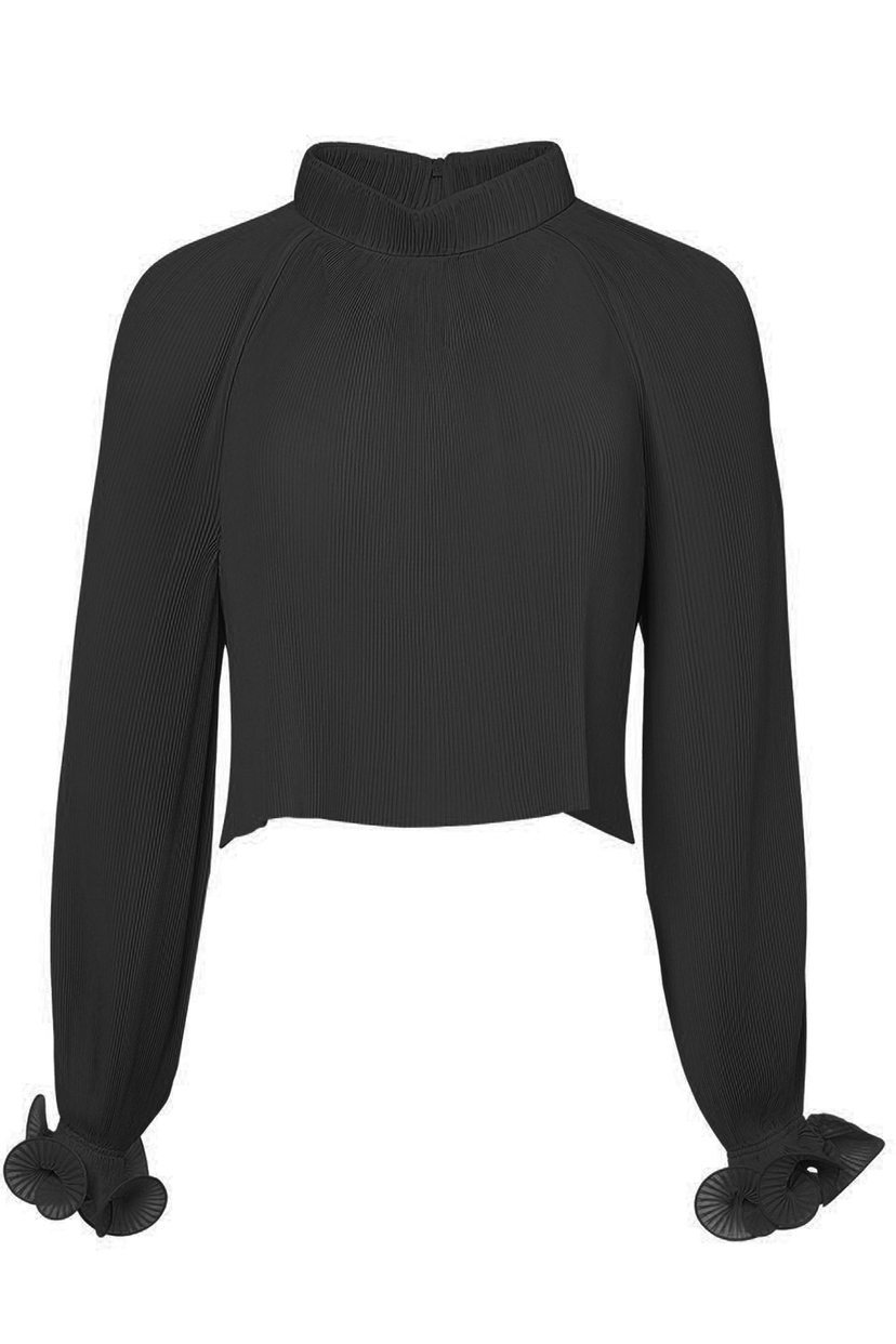Tibi Pleated Cropped Top in Black Tops