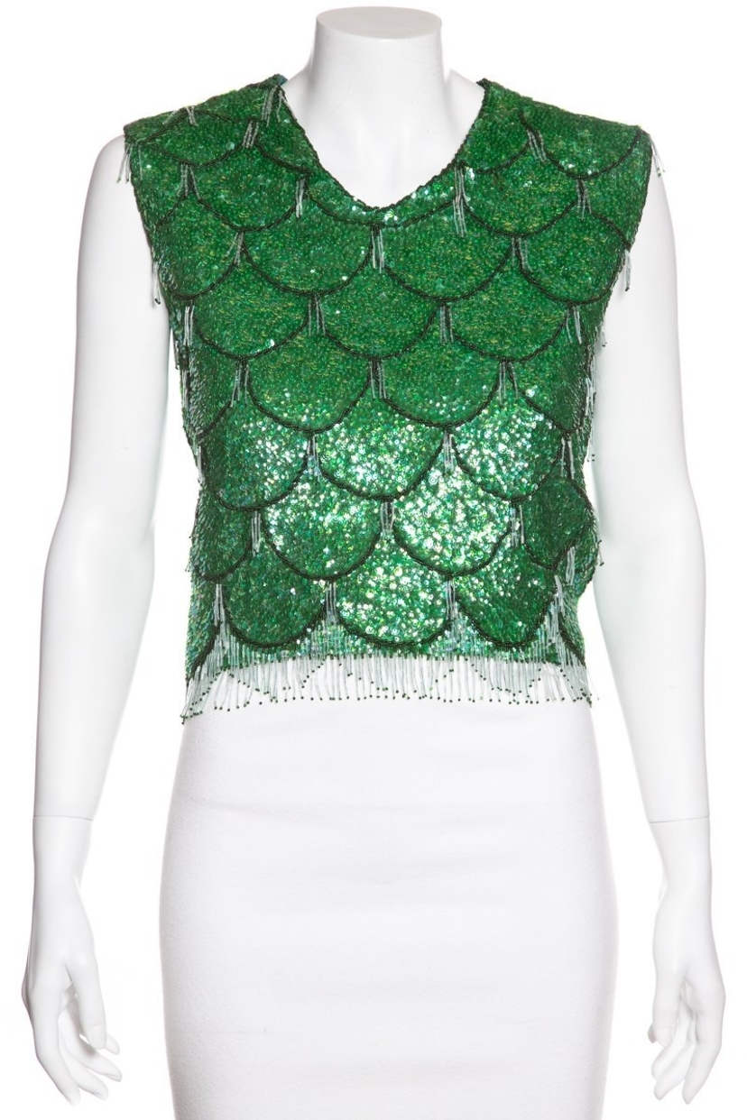 Herbert Chan Herbert Chan Vintage Green Sequin Sleeveless Top Sz S/M Tops