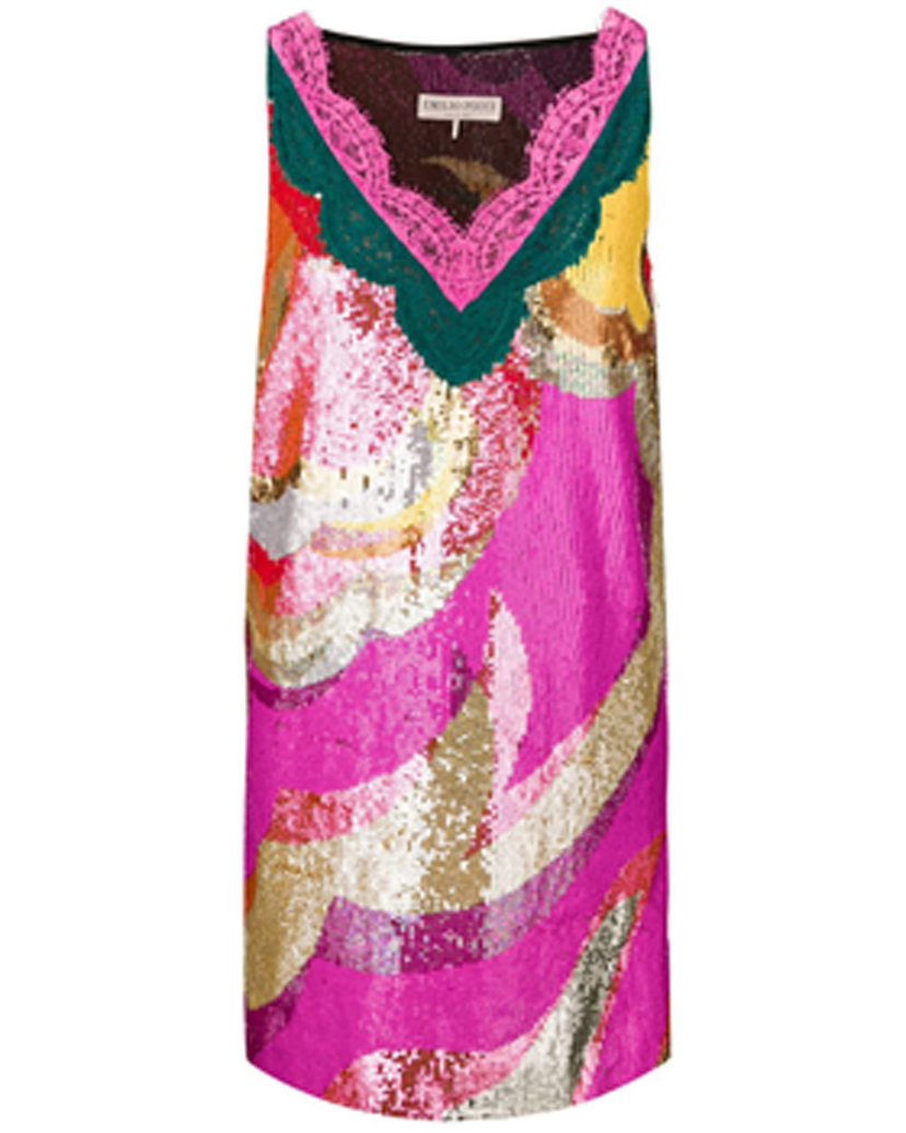Emilio Pucci Emilio Pucci Corallo And Sabbia Sequined Dress 6 Dresses