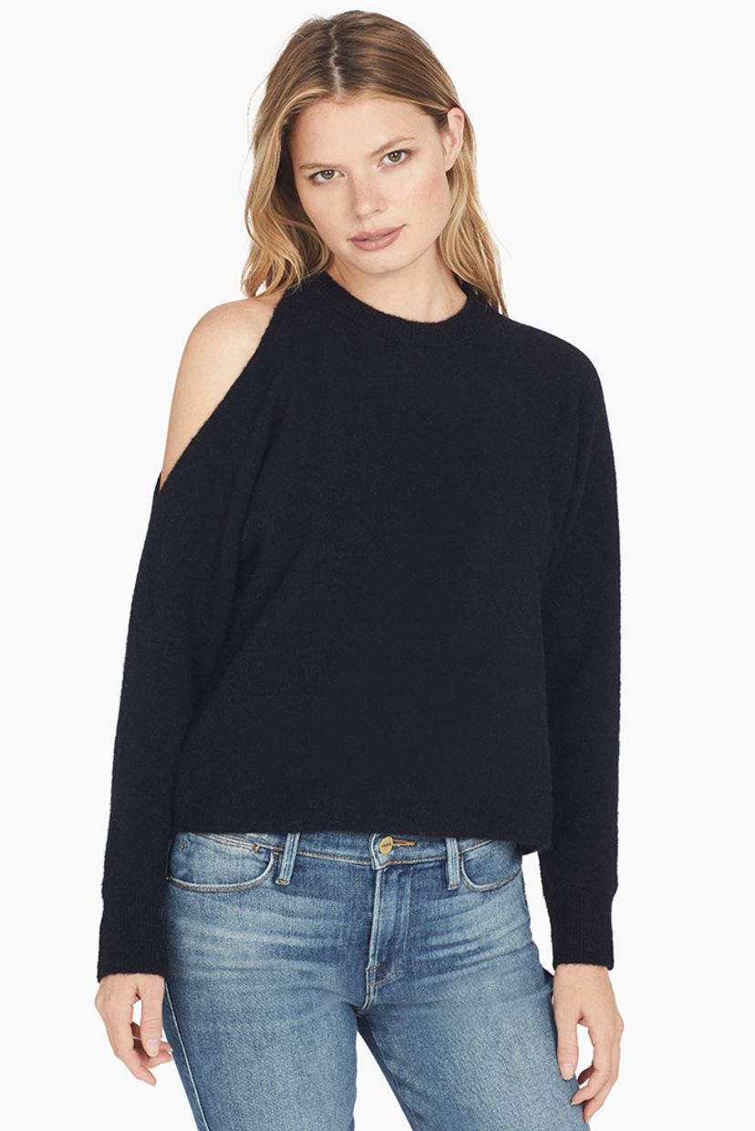 Mason by Michelle Mason Alpaca Wool Cold Shoulder Sweater (Black) Tops