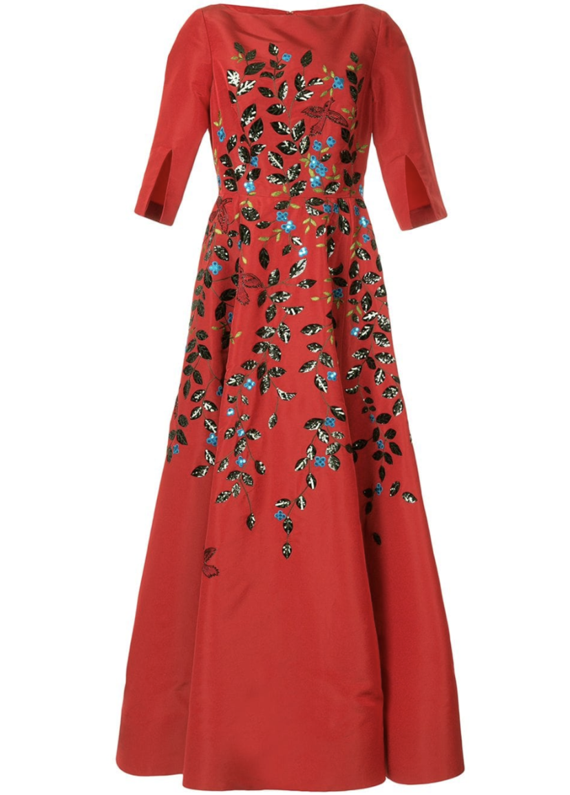Oscar de la Renta Red Gown with Floral Embroidery Dresses