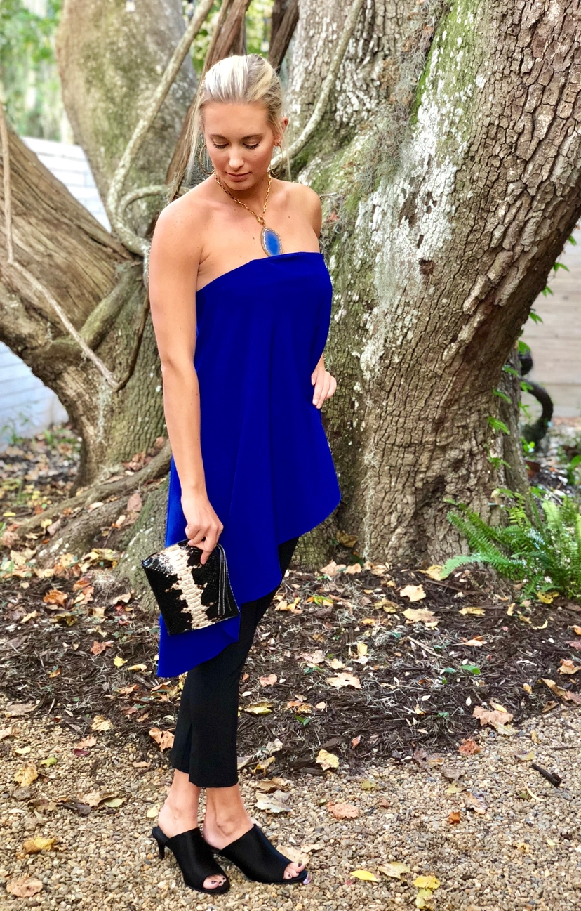 Milly Asymmetrical Strapless Top - Blue Tops