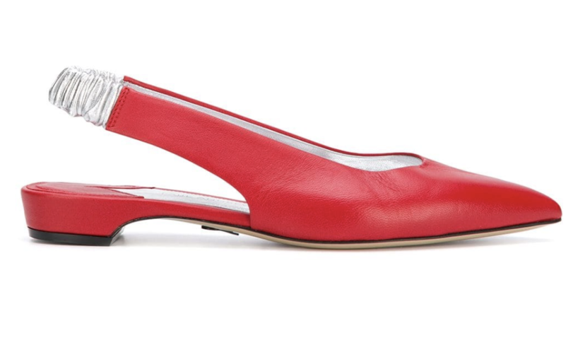 Paul Andrew Red Leather Slingback Flats (Originally $795) Sale Shoes