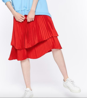 Clu Red Double Layered Pleated Skirt Skirts