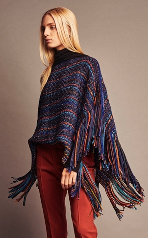 wehve Fringed Poncho - Peacock Outerwear Tops