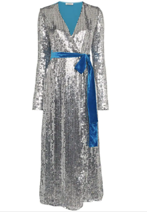 Attico Sequin and Blue Velvet Wrap Dress Dresses