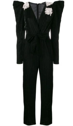 Dodo Bar Or Black Embellished Velvet Jumpsuit