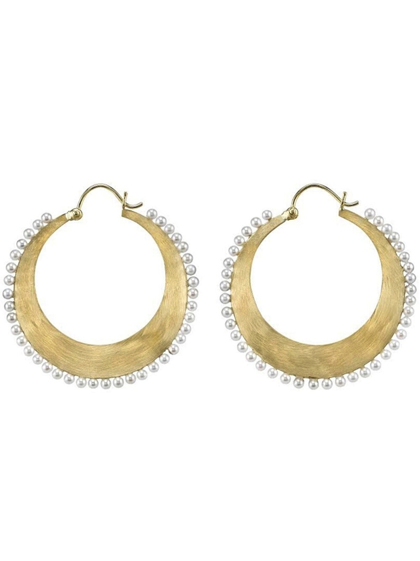 Irene Neuwirth Irene Neuwirth Hoop Earrings with Akoya Pearls - Yellow Gold Jewelry