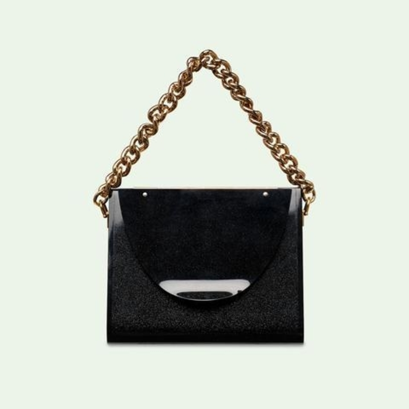 Edie Parker Triangle Bag in Obsidian Sand Bags