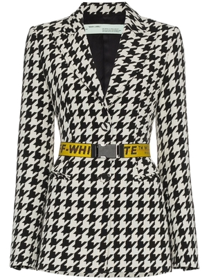 Off-White Off-White - Single Breasted Houndstooth Virgin Wool blend blazer Outerwear