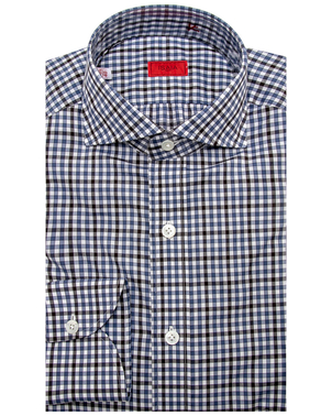 Isaia Isaia Blue Check with Chocolate Windowpane Dress Shirt Men's