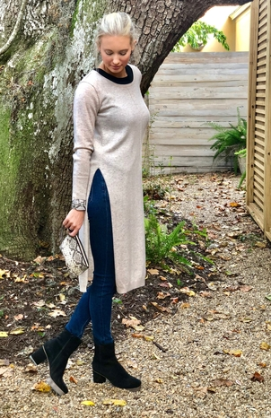 House of Pom Long Tunic Sweater with Slit Tops