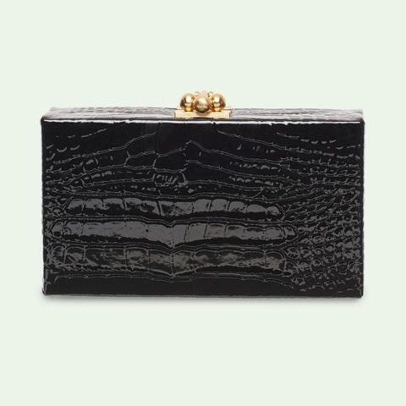 Edie Parker Jean Box Embossed Croc in Black Bags
