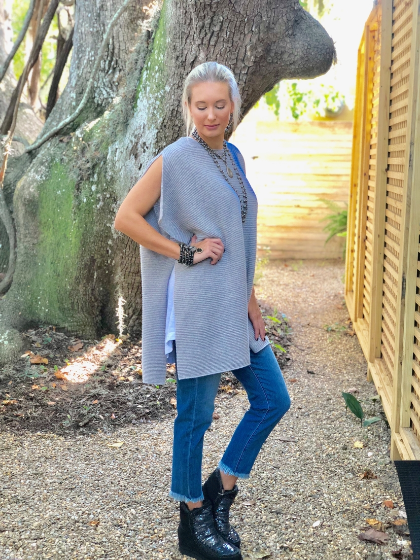 Kokun Cashmere Poncho Sweater - Grey Tops