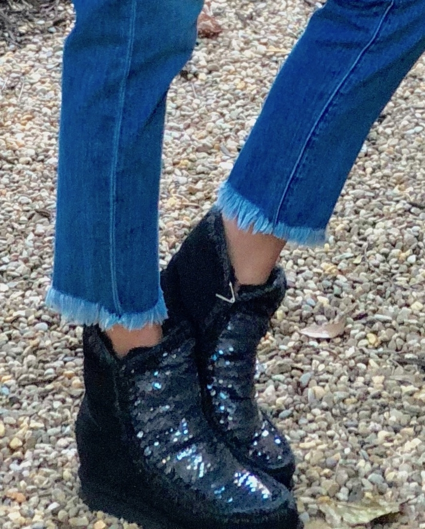 Mou Inner Wedge Boot - Black Sequin Shoes
