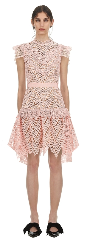 Self-Portrait Abstract Triangle Lace Dress Dresses