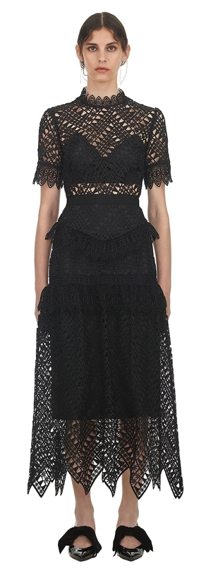 Self-Portrait Abstract Triangle Lace Midi Dress Dresses