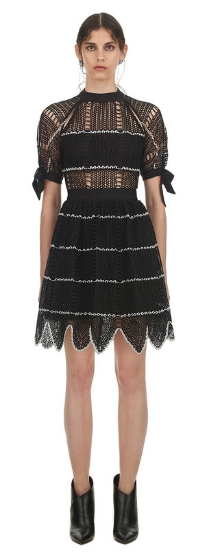 Self-Portrait Crochet Scallop Mini Dress Dresses