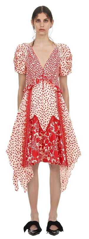 Self-Portrait Satin Printed Handkerchief Dress Dresses