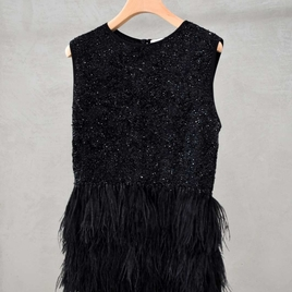 Odeeh Ostrich Feather & Sequins beaded top