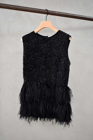 Odeeh Odeeh Ostrich Feather & Sequins beaded top Tops