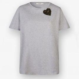 Odeeh Cotton Tee with Olive Green Sequin heart