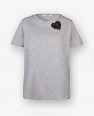 Odeeh Odeeh Cotton Tee with Olive Green Sequin heart Tops