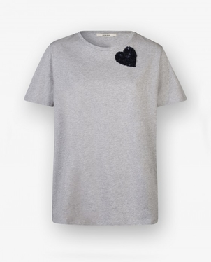 Odeeh Odeeh Grey Cotton Tee w Blue Sequin Embroidered Heart Tops
