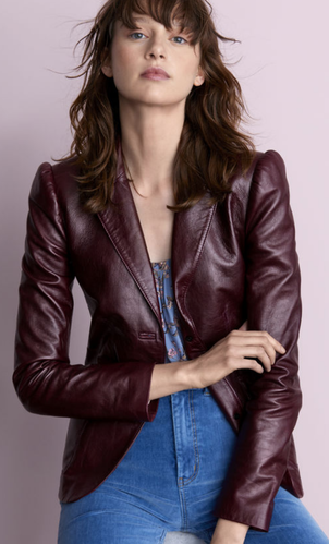 Rebecca Taylor Leather Blazer Outerwear
