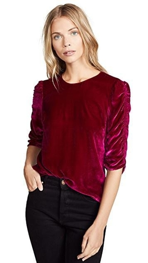 Rebecca Taylor Ruched Sleeve Velvet Top Tops