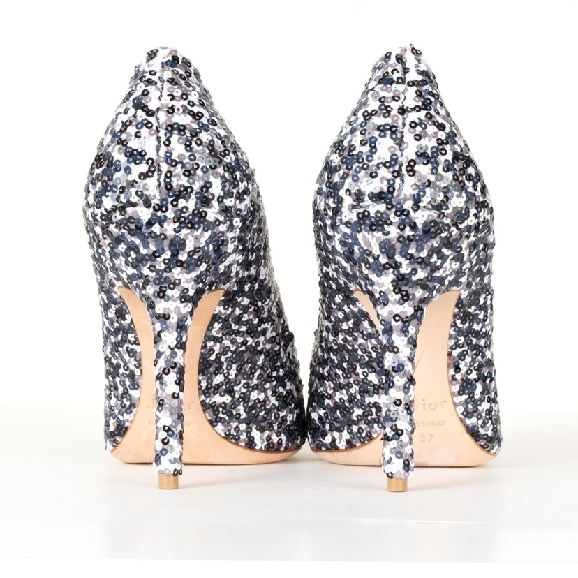 e8168c5304 Christian Dior Christian Dior White and Black Sequin Embellished Heel 37  Shoes