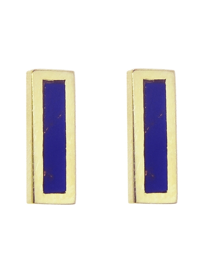 Jennifer Meyer Jennifer Meyer Lapis Inlay Bar Stud Earrings - Yellow Gold Jewelry