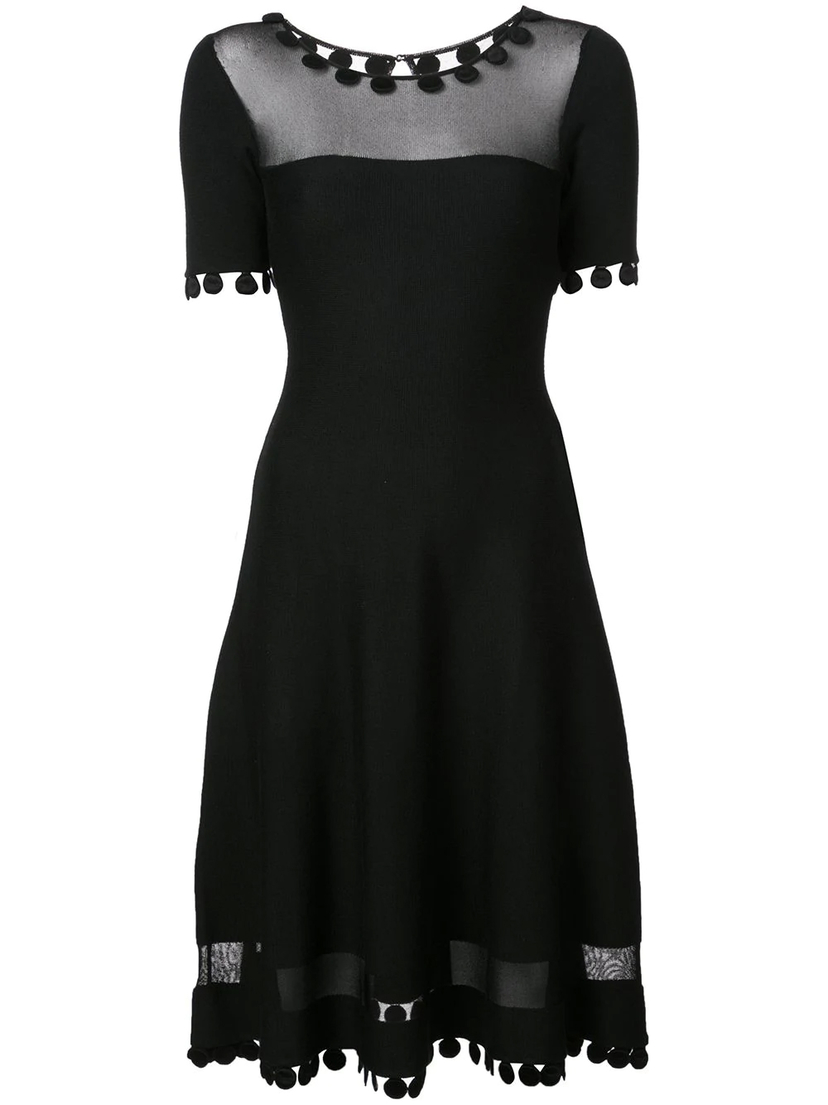 Oscar de la Renta Illusion Paneled Knit Dress Dresses