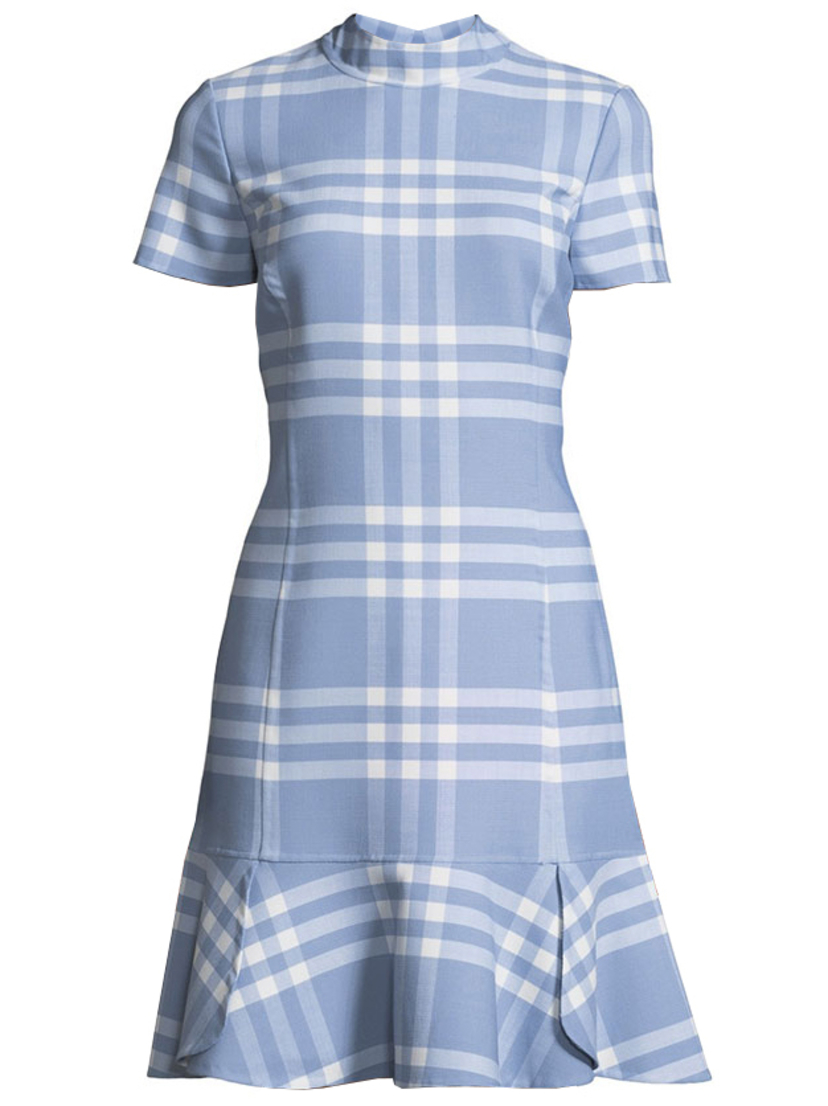 Oscar de la Renta Checked Cap Sleeve Shift Dress Dresses