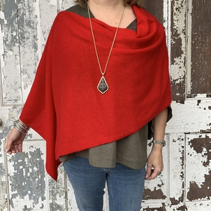 Cashmere Poncho Topper - Red Accesories