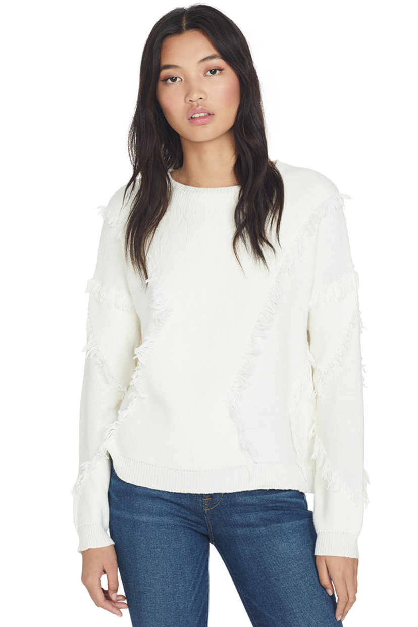 ATM Merino Wool Fringe Sweater (Chalk) Tops