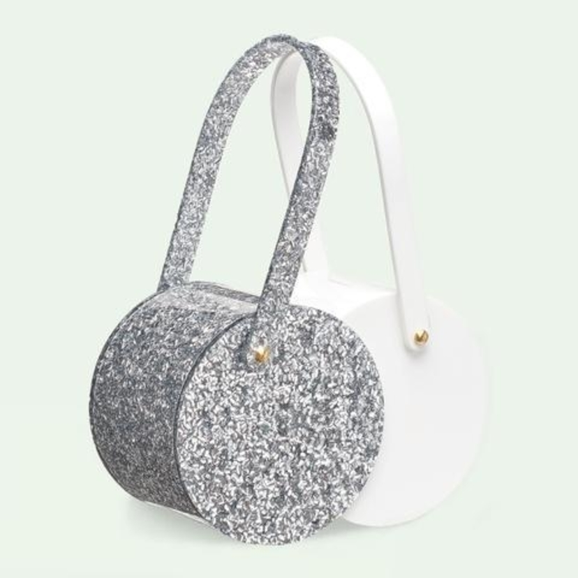 Edie Parker Double Shot in Silver Confetti Bags