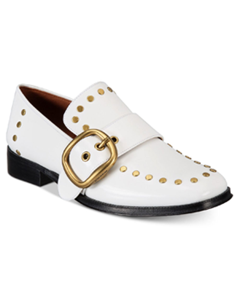 Coach Coach White Alexa Studded Loafers Shoes