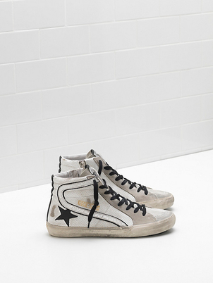 Golden Goose Deluxe Brand Golden Goose White Perforated Hi-Top 'Slides' Shoes