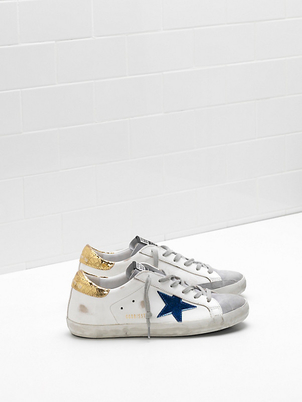 Golden Goose Deluxe Brand Golden Goose Superstars with Blue Star and Gold Heel Shoes